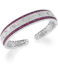 Macy's - Ruby (1-3/4 Ct. T.w.) And Diamond Accent Cuff Bracelet In Sterling Silver - Lyst