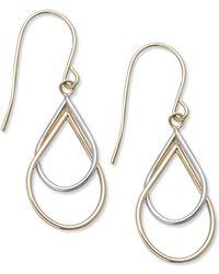 Macy's - 10k Two-tone Earrings, Double Teardrop Earrings - Lyst