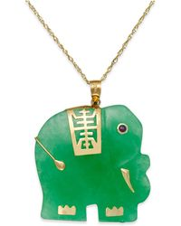 Macy's - Dyed Jade Elephant Pendant Necklace In 14k Gold (25mm) - Lyst