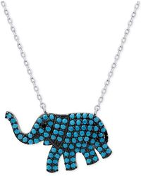 Macy's - Manufactured Turquoise Elephant Pendant Necklace In Sterling Silver - Lyst