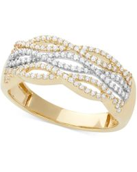 Macy's - Diamond Cutout Ring (1/3 Ct. T.w.) In 14k White And Yellow Gold - Lyst