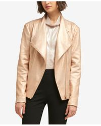 DKNY - Metallic Faux-suede Moto Jacket, Created For Macy's - Lyst