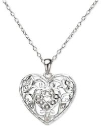 "Giani Bernini - Filigree Heart 16"" Pendant Necklace In Sterling Silver, Created For Macy's - Lyst"