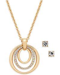 Charter Club - Pavé Pendant Necklace & Crystal Stud Earrings Set - Lyst