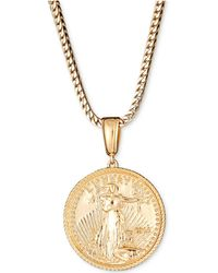 "Macy's - Liberty Coin 24"" Pendant Necklace In 18k Gold-plated Sterling Silver - Lyst"
