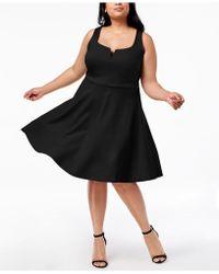 3220a799d49 Soprano - Trendy Plus Size Split-neck Fit   Flare Dress - Lyst