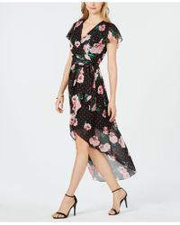 Julia Jordan - Faux-wrap Floral Chiffon Dress - Lyst