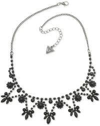 "Guess - Hematite-tone & Jet Stone Statement Necklace, 16"" + 2"" Extender - Lyst"