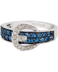 Le Vian - ® Cornflower Ceylon Sapphiretm (5/8 Ct. T.w.) & Diamond Accent Belt Buckle Ring In 14k White Gold - Lyst