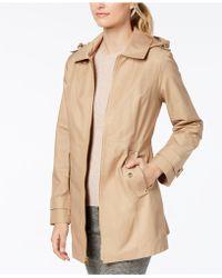 Michael Kors - Petite Hooded Zip-front Raincoat - Lyst