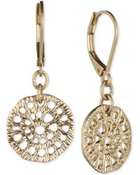 Lonna & Lilly - Gold-tone Textured Disc Drop Earrings - Lyst