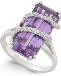 Macy's | Amethyst (6 Ct. T.w.) And Cubic Zirconia Drama Ring In Sterling Silver | Lyst
