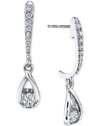 Sirena - Diamond Drop Earrings (1/2 Ct. T.w.) In 14k White Gold - Lyst