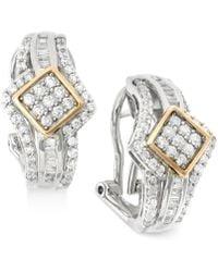 Wrapped in Love | Diamond J-hoop Earrings (1 Ct. T.w.) In 14k Gold And Sterling Silver | Lyst