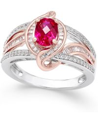 Macy's - Certified Ruby (1 Ct. T.w.) And Diamond (1/2 Ct. T.w.) Two-tone Statement Ring In 14k White And Rose Gold - Lyst