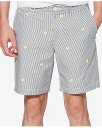 "Original Penguin - Men's Slim-fit Embroidered Yarn-dyed Stripe 8"" Shorts - Lyst"