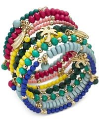 INC International Concepts - I.n.c. Gold-tone Multi-charm Beaded Coil Bracelet, Created For Macy's - Lyst