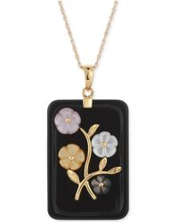 Macy's - Jade Or Onyx Carved Flower Pendant Necklace (25x38mm) In Gold-plated Sterling Silver - Lyst