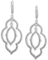 Anne Klein - Crystal Orbital Double Drop Earrings - Lyst