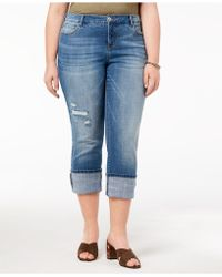 INC International Concepts - I.n.c. Plus Size Cuffed Jeans, Created For Macy's - Lyst