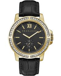Sean John - Men's Venice Black Leather Strap Watch 45mm - Lyst