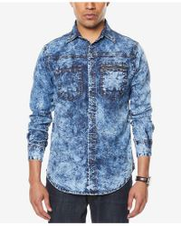 Sean John - Men's Denim Pocket Shirt - Lyst