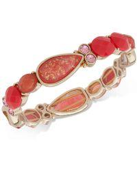 Anne Klein - Gold-tone Stone & Crystal Stretch Bracelet - Lyst