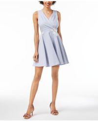 Maison Jules - Seersucker Fit & Flare Dress, Created For Macy's - Lyst