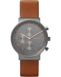 Skagen - Chronograph Ancher Brown Leather Strap Watch 40mm - Lyst