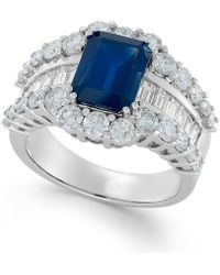 Macy's - Sapphire (3-5/8 Ct. T.w.) And Diamond (2 Ct. T.w.) Ring In 14k White Gold - Lyst