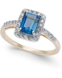 Macy's - London Blue Topaz (1-3/8 Ct. T.w.) & Diamond (1/4 Ct. T.w.) Ring In 14k Gold - Lyst