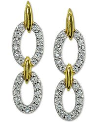 Giani Bernini - Cubic Zirconia Double Oval Drop Earrings In 18k Gold-plated Sterling Silver, Created For Macy's - Lyst