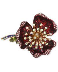 Betsey Johnson - Gold-tone Multi-stone Flower Ring - Lyst