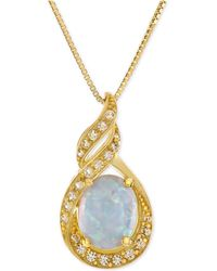 Macy's - Lab-created Opal (1 Ct. T.w.) And White Sapphire (1/5 Ct. T.w.) Pendant Necklace In 14k Gold-plated Sterling Silver - Lyst