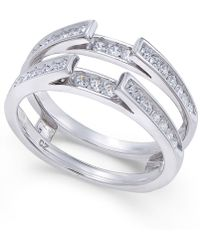 Macy's - Diamond Channel-set Solitaire Enhancer Ring Guard (1/2 Ct. T.w.) In 14k White Gold - Lyst