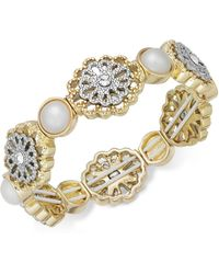 Charter Club | Two-tone Crystal Filigree & Imitation Pearl Stretch Bracelet | Lyst