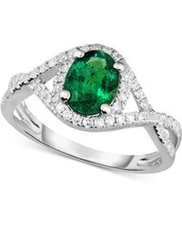 Macy's - Emerald (1-1/10 Ct. T.w.) And Diamond (1/3 Ct. T.w.) Ring In 14k White Gold - Lyst