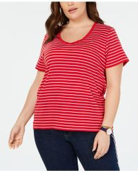 f4ddd2cb0 Tommy Hilfiger - Plus Size Cotton Striped T-shirt, Created For Macy's - Lyst