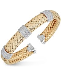 Macy's - Diamond Braided Cuff Bracelet (1-1/4 Ct. Tw.) In 14k Gold-plated Sterling Silver - Lyst