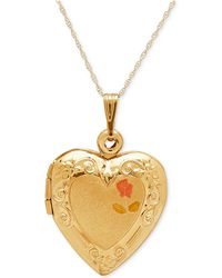Macy's - Engraved Heart Locket Pendant Necklace In 10k Gold - Lyst