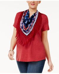 Style & Co. - Plus Size Fringed-scarf Top - Lyst