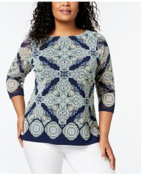 Charter Club - Plus Size Printed Mesh Top, Created For Macy's - Lyst