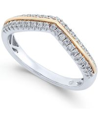 Macy's - Diamond Two-tone Chevron Ring (1/4 Ct. T.w.) In 14k Gold And White Gold - Lyst