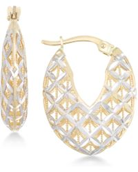 Macy's - Openwork Two-tone Chunky Hoop Earrings In 14k Gold And White Gold - Lyst