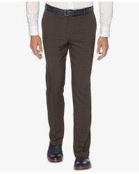 Perry Ellis - Portfolio Slim-fit Stretch Medium Windowpane Plaid Dress Trousers - Lyst