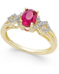 Macy's - Ruby (9/10 Ct. T.w.) And Diamond (1/8 Ct. T.w.) Ring In 14k Gold(also Available In Emerald & Sapphire) - Lyst
