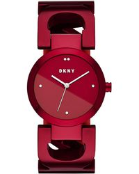DKNY - City Link Red Stainless Steel Bangle Bracelet Watch 36mm, Created For Macy's - Lyst