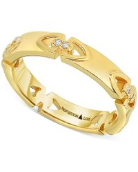 Proposition Love - Women's Diamond Accent Triangle Motif Ring In 14k Gold (1/10 Ct. T.w.) - Lyst