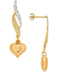 Macy's - Tri-color Textured Filigree Heart Drop Earrings In 10k Yellow And Rose Gold - Lyst