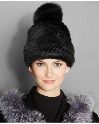 The Fur Vault - Fox-fur-pom Knitted Mink Fur Beanie - Lyst